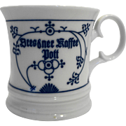 Blue White Porcelain Coffee Mug Germany Germany