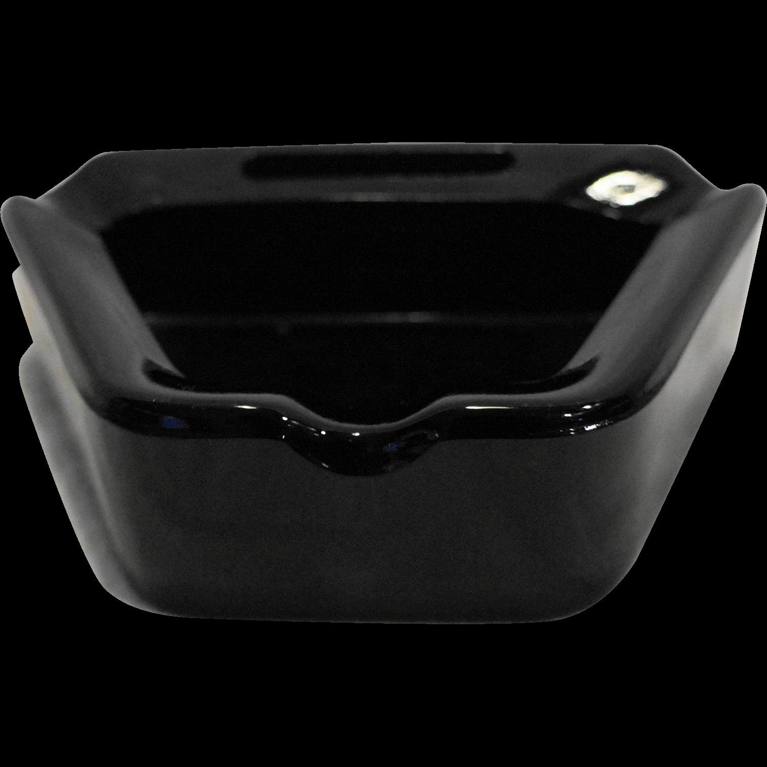 Black Glass Trapezium Shape Heavy Art Deco Ashtray Matchbook Slot