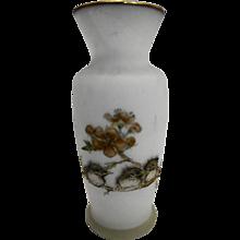 Enesco Imports Baby Birds Glass Vase Transfer Decoration Signed Mary Magg