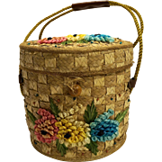 Straw Raffia Flowers Bucket Lunch Pail Purse