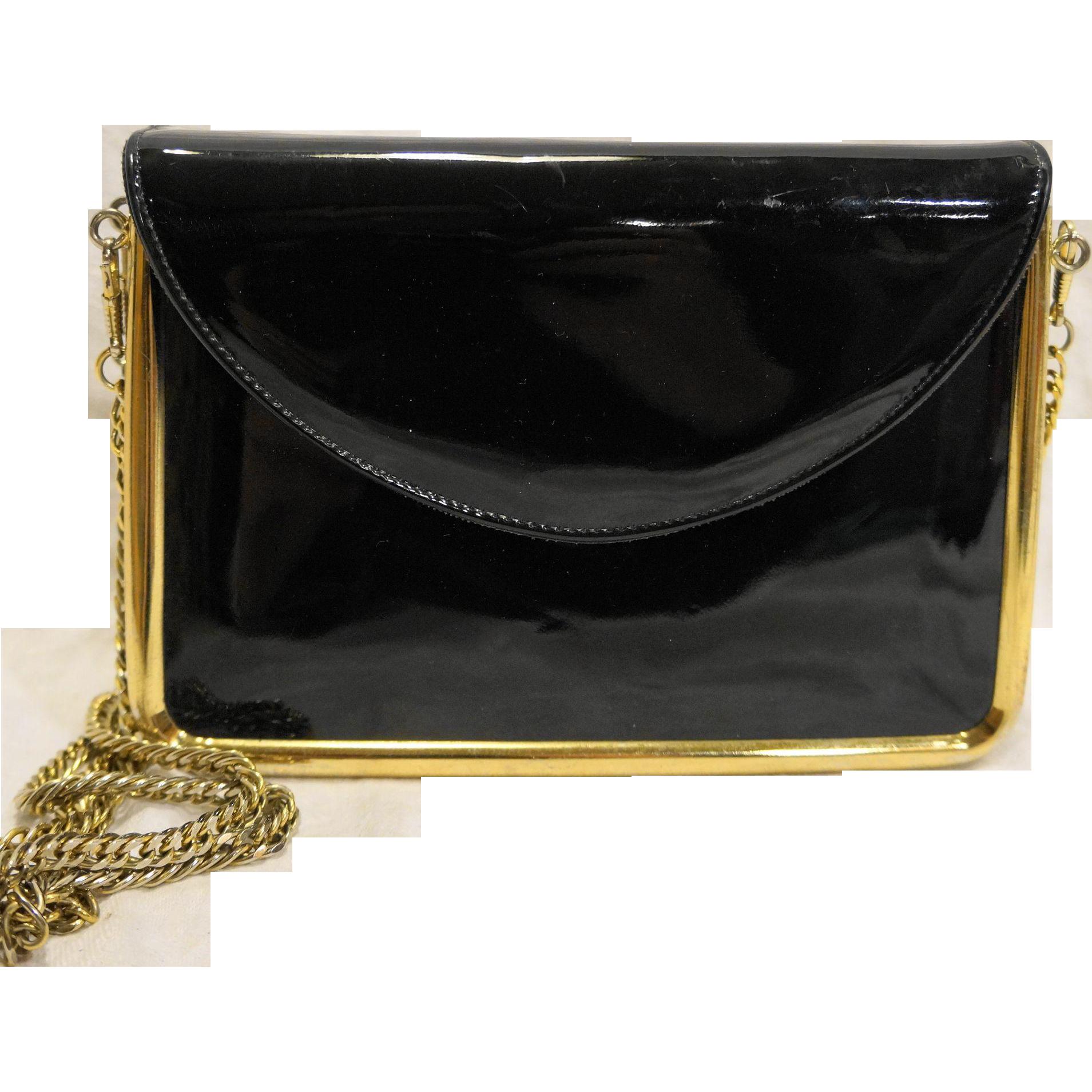 Cappagallo Black Patent Leather Evening Bag Clutch Purse