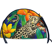 Jungle Print Snow Leopard Quilted Bright Half Circle Shoulder Bag Purse