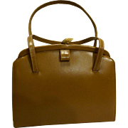 Brown Vinyl Vintage Structured Handbag Purse