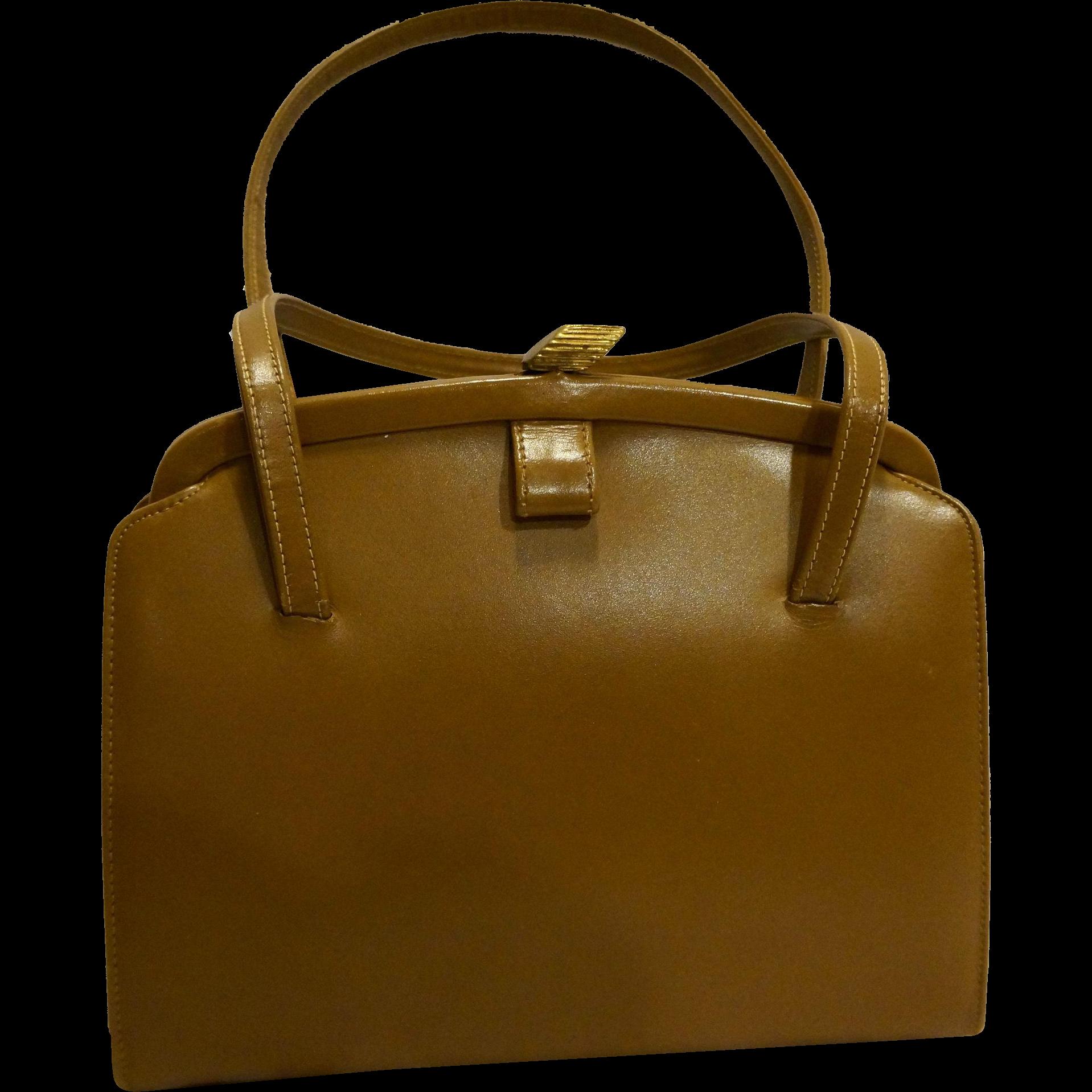 Brown Vinyl Vintage Structured Handbag Purse