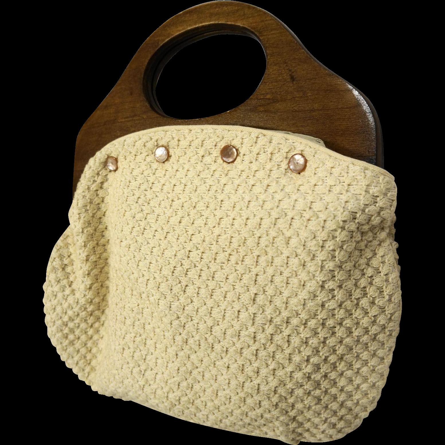 Bermuda Bag Purse Wooden Handle 5 Covers Plaids Solids