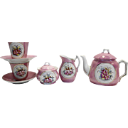 Pink Lustre Floral Hand Painted Child Tea Set 9 PCS