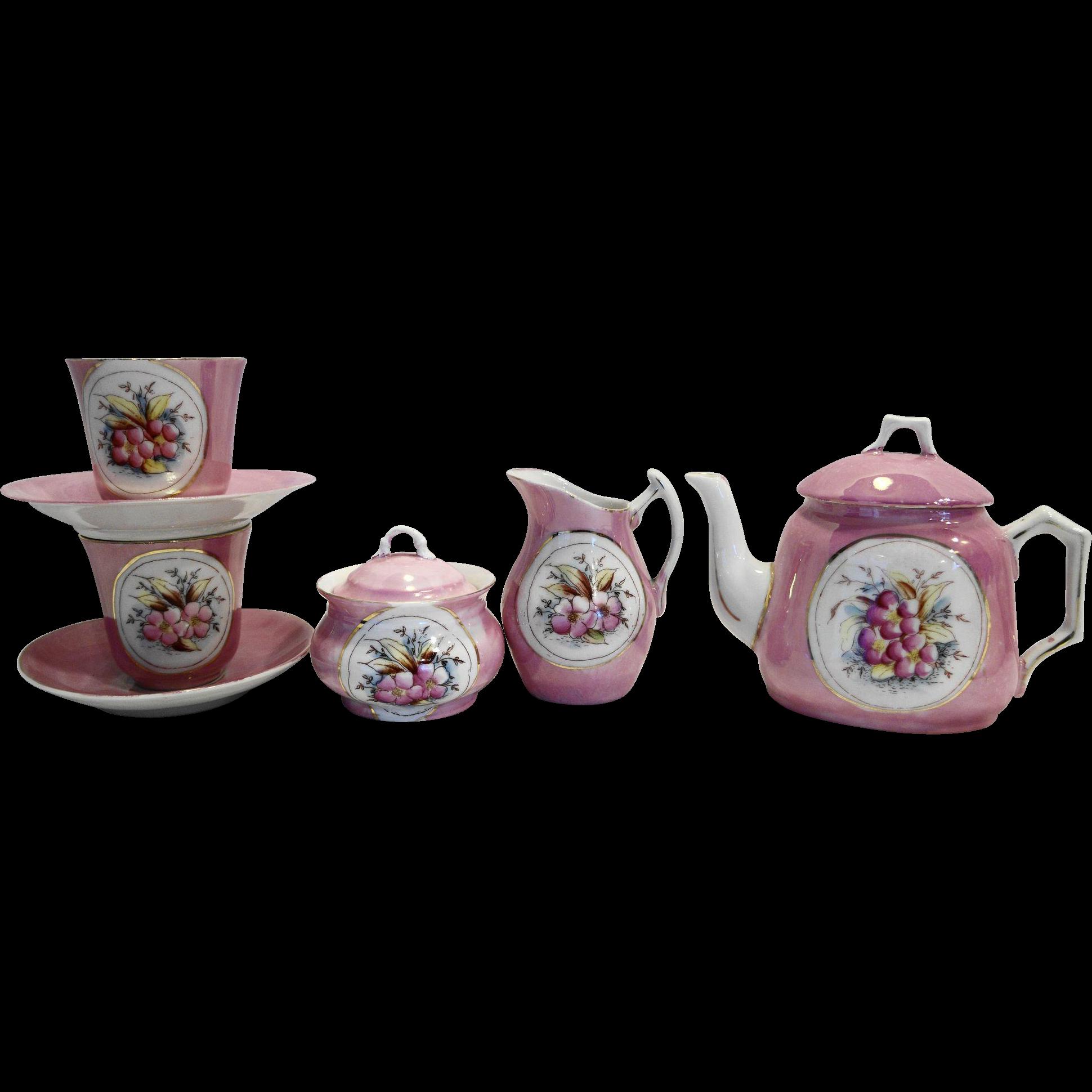 Pink Lustre Floral Hand Painted Child Tea Set 9 PCS