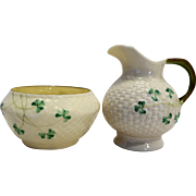 Belleek Shamrock Open Sugar Creamer Yellow Lustre Interior 1st Green Mark 1946-1955