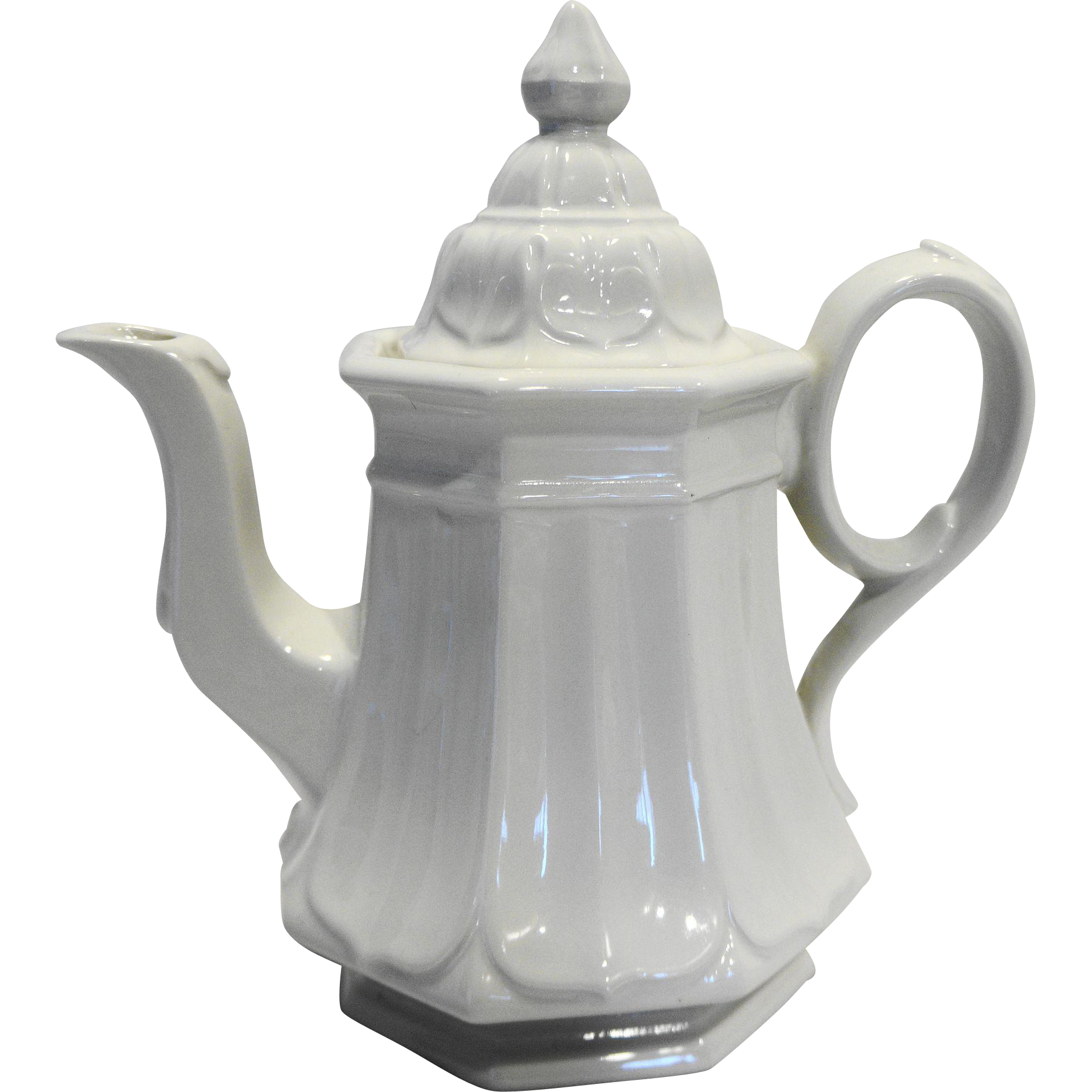 Red Cliff Sydenham White Ironstone Tea Pot Coffee Pot Embossed Petals