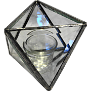 Beveled Glass Mirror Base Octahedron Open Box Candle Holder Triangle Panels