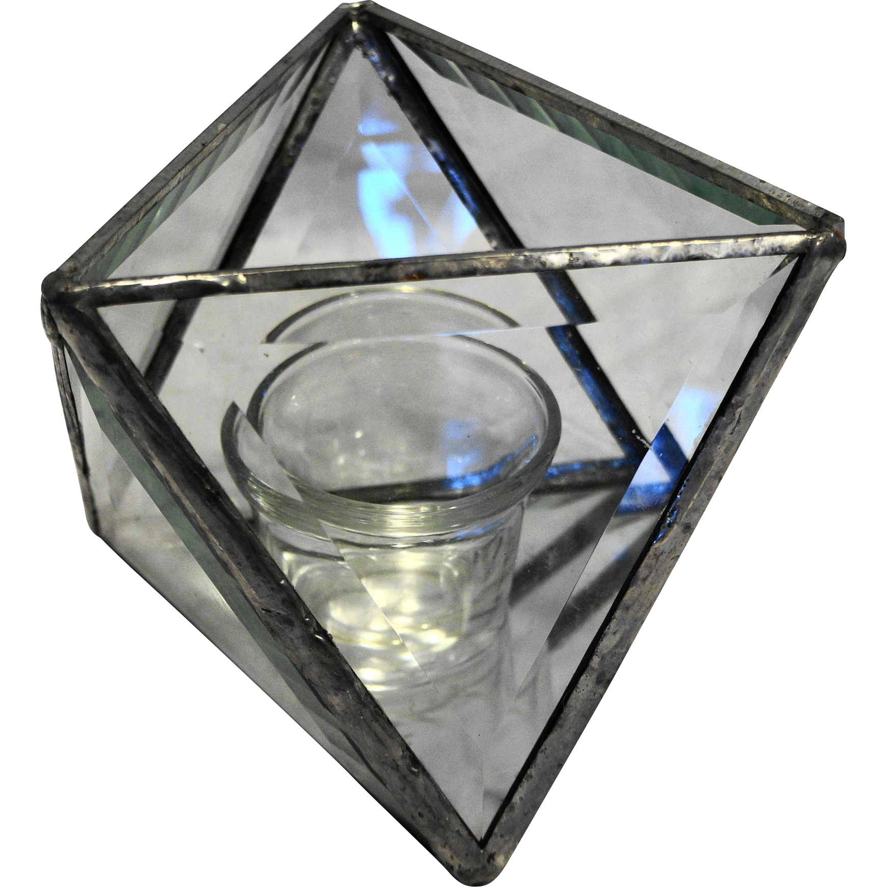 Beveled Glass Mirror Base Octahedron Open Box Terrarium Candle Holder Triangle Panels