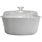 Corning Ware White Winter Frost Dutch Oven 5 QT 5L Square Casserole Domed Lid A-5-B