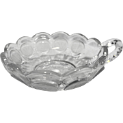 Fostoria Coin Glass Clear Nappy Handled Bowl Frosted Coins