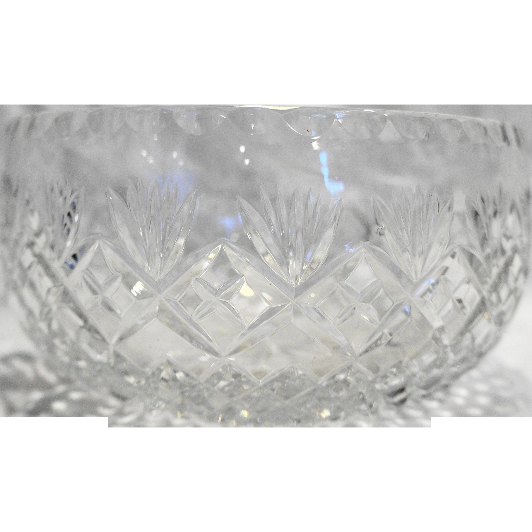 Cut Glass Lead Crystal Open Round Serving Bowl Fan Diamond Criss Cross 7.5 IN
