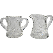 Cut Glass Lead Crystal Creamer Sugar Bow Set Floral Flowers