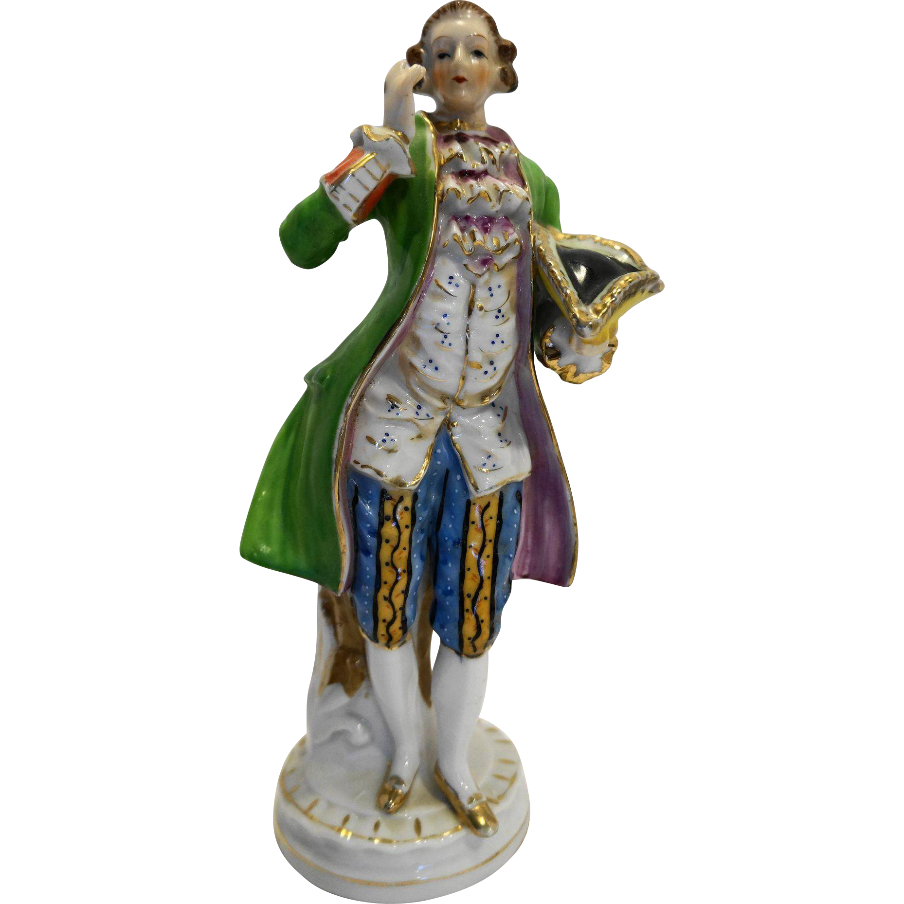Occupied Japan Colonial Man Green Coat Porcelain Figurine 10 IN