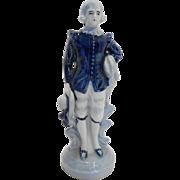Occupied Japan Blue White European Man Boy Figurine 7 IN