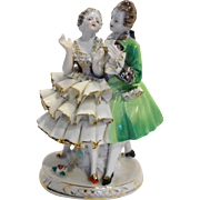 Colonial Couple Figurine Porcelain Green White Ruffles