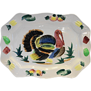 Turkey Platter Hand Painted Made in Japan Pottery Colorful 18 IN