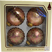 Christmas by Krebs Pink Glitter Mica Ball Glass Ornaments With Box