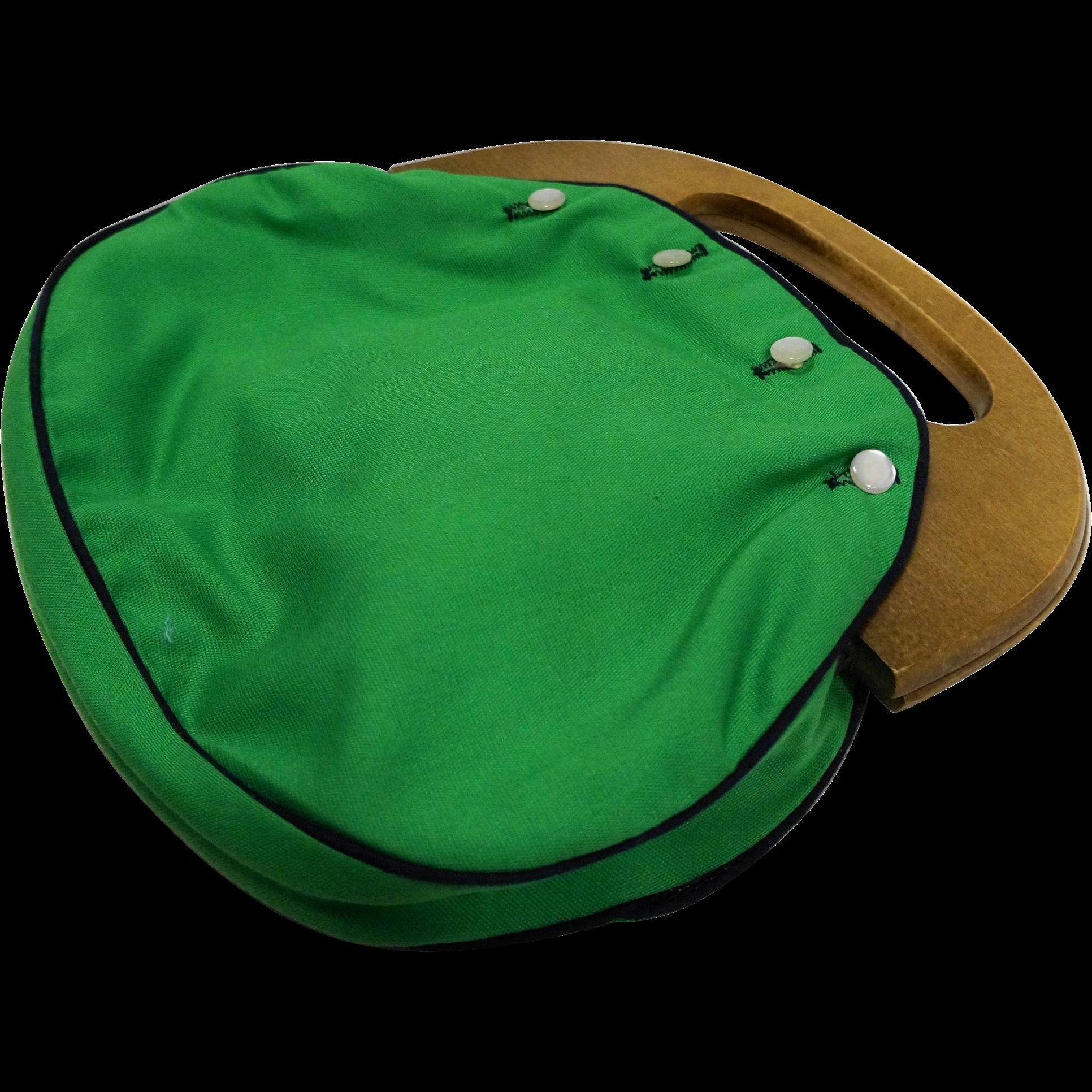 Bermuda Bag Purse Wooden Handle 2 Reversible Covers Blue Green Solids Floral Turtles
