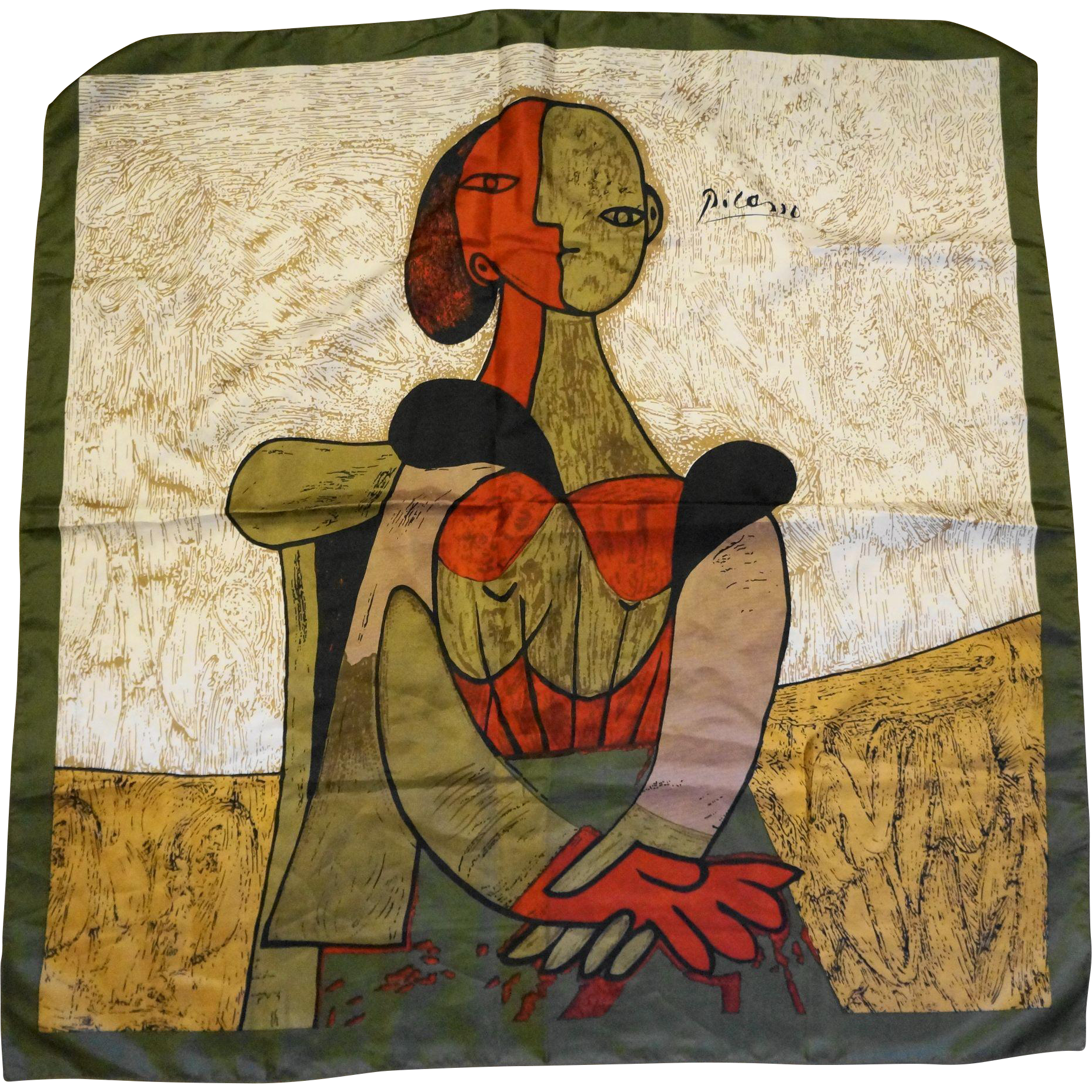 Picasso Art Scarf Woman Portrait Cubist Olive Khaki Red Abstract 34 IN