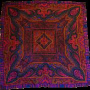Dark Jewel Tones Paisley Floral Print Silk Scarf 32 IN
