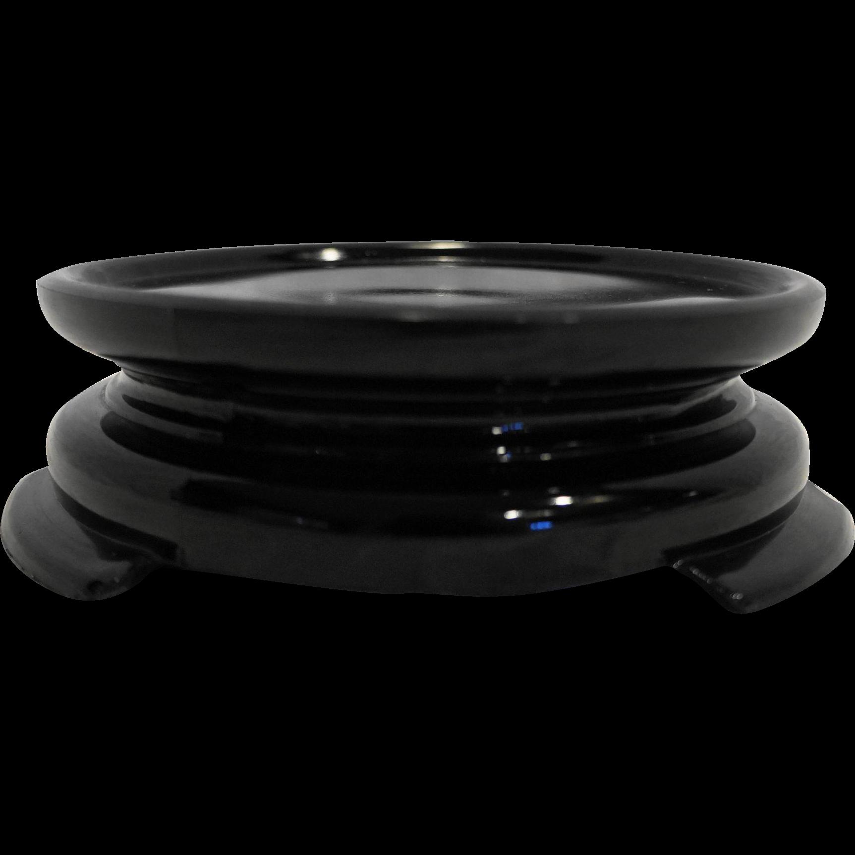Black Amethyst Depression Glass Pedestal Display Stand 5 IN