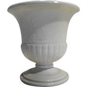 MacBeth Evans Ivory Depression Glass Acanthus Leaves Urn Vase 7 IN