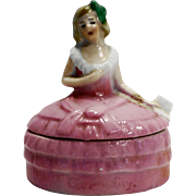 Lady Half Doll Pink Dress Trinket Box Germany Small