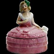 Lady Half Doll Pink Dress Trinket Box Germany Small
