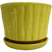 McCoy Bamboo Bright Yellow Flower Pot Planter With Saucer 0373 1970s-80s