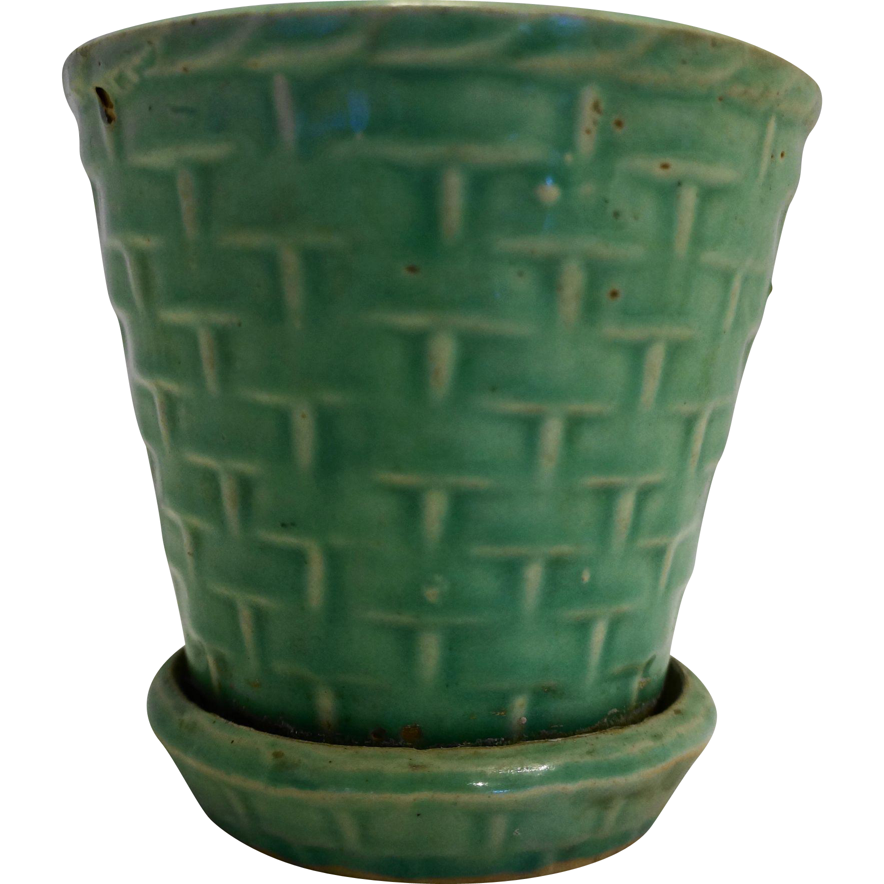 Jadeite Green Basket Weave Pottery Flower Pot Planter