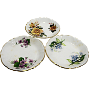 Hammersley Spode England Princess House Floral Butter Pats Set of Three Fine Bone China Porcelain