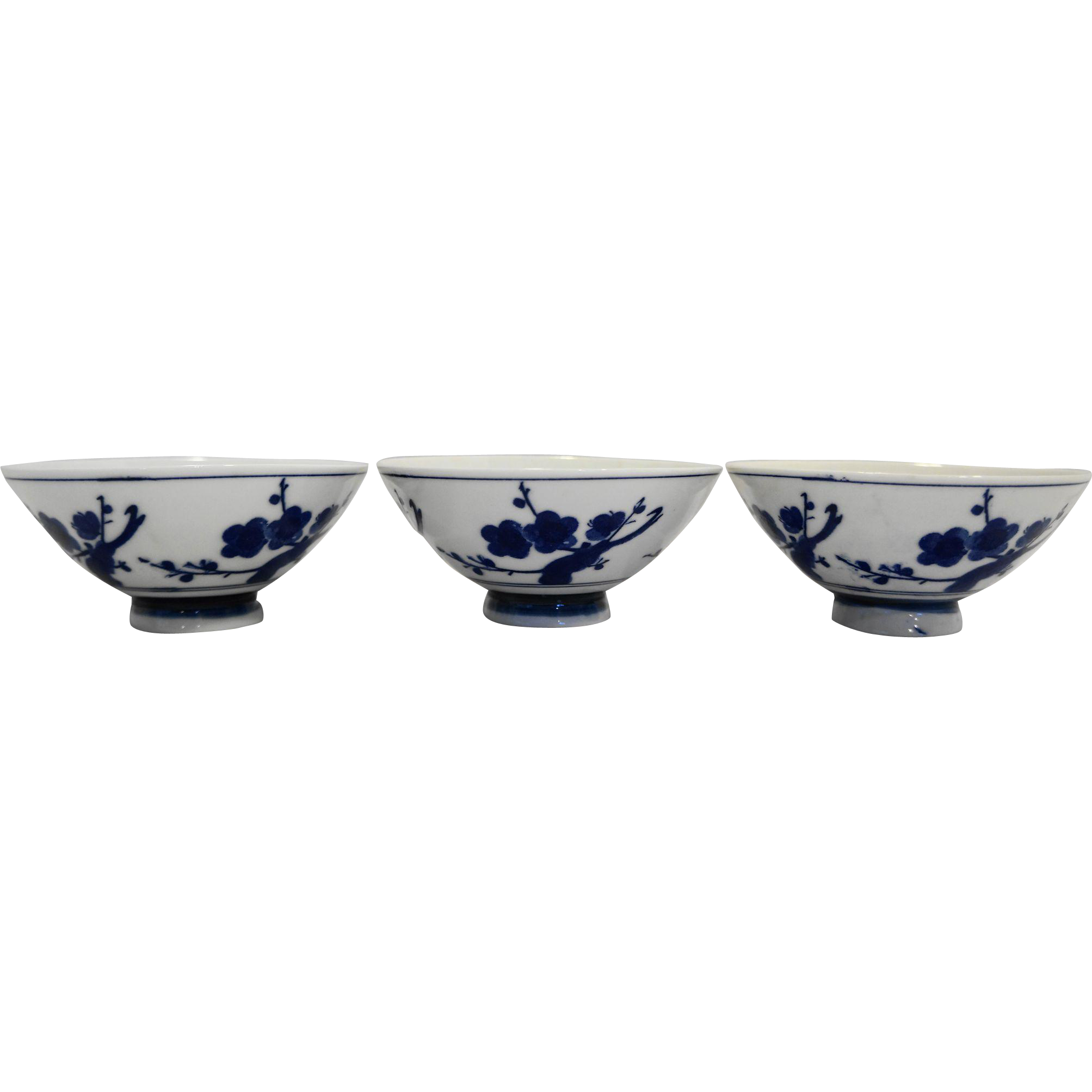 Blue White Hand Painted Porcelain Rice Bowls Set of 3 Cherry Blossoms Signed