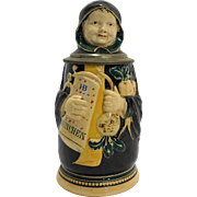 J Reinemann Munich Figural Character Beer Stein Monk German Antique 8 IN