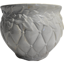 McCoy Quilted Leaf Large 9 IN Jardiniere Planter Pot White Glaze