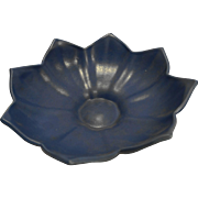Deep Cornflower Blue Lotus Bowl 1930s Pottery 220 USA