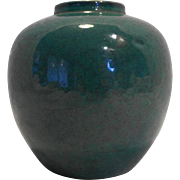 Chinese Green Monochrome Porcelain Vase Jar 18th-19th Century Blue Double Ring Mark