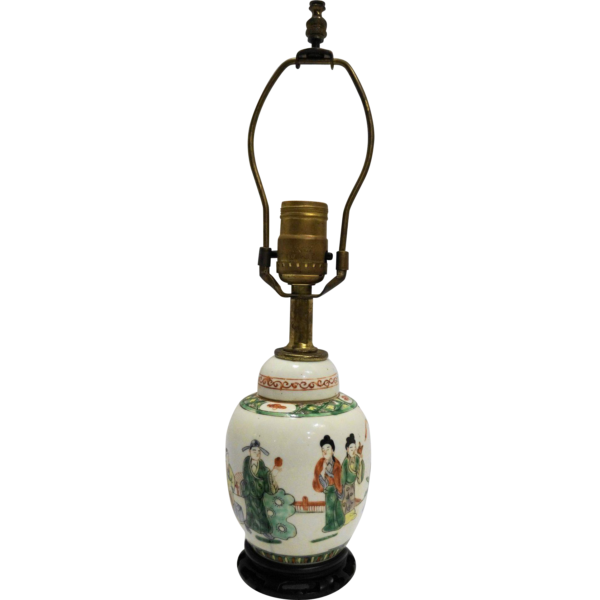 Ginger Jar Lamp Chinese Porcelain Hand Painted Small