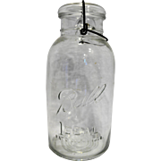 Ball Ideal Half Gallon Clear Glass Wire Bale Canning Jar July 14 1908 1923-1933