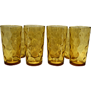 Hazel Atlas El Dorado Dots Amber Gold Flat 10 OZ Tumblers 5 IN Set of 8