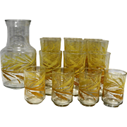 Libbey Wheat Carafe Tumblers Set 14 Pieces