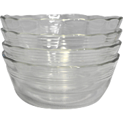 Pyrex 464 10 OZ Ramekin Custard Bowls 3 Ring Scalloped Rim Clear Glass