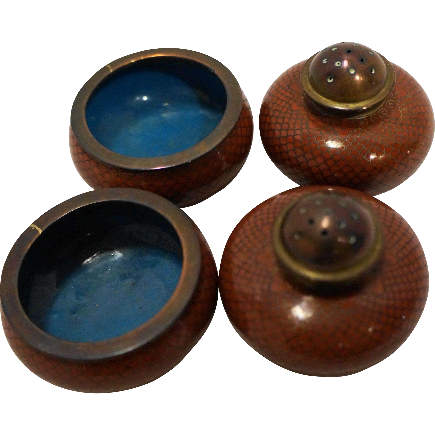 Cloisonne Enamel Salt Cellars Shakers Set Pair Copper Rust Turquoise 1920s Vintage Chinese