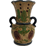 Majolica Style Hand Painted Pottery Urn Vase Japan 5 IN