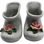 White Porcelain Shoes Boots Pink Applied Roses