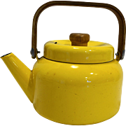 Midcentury Danish Modern Bright Yellow Enamel Tea Kettle Pot
