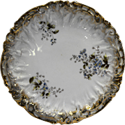 Geschutzt Germany Porcelain Plate Scalloped Embossed Floral Gold Trim 8 IN