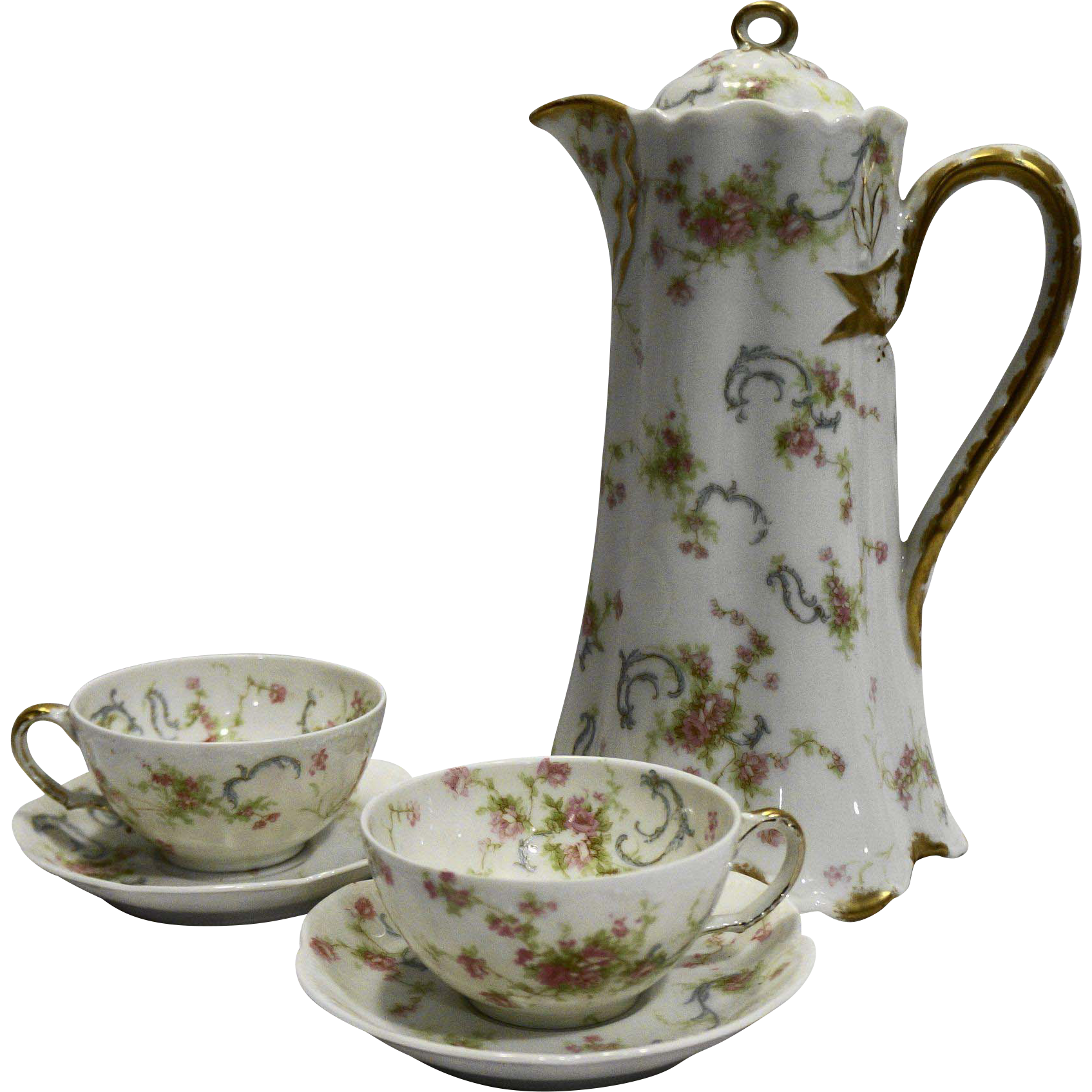 Haviland & Co. Limoges France Schleiger 57B Chocolate Pot Ranson Blank Demitasse Cups Saucers Set